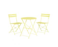 Set di 2 sedie e tavolino da caffè in acciaio verde lime FIORI