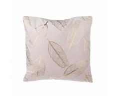 Cuscino decorativo a foglie 45 x 45 cm rosa