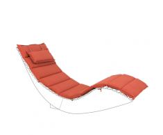 Cuscino per lettino da giardino BRESCIA rosso 180 x 60 x 5 cm