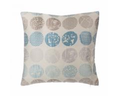 Cuscino decorativo a cerchi 45 x 45 cm blu/grigio