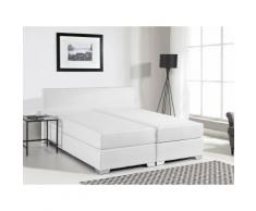 Letto boxspring in pelle bianca 140 x 200 cm PRESIDENT