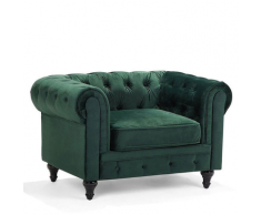 Poltrona vintage in tessuto verde CHESTERFIELD
