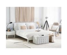 Letto matrimoniale moderno in legno bianco 160x200cm OLIVET