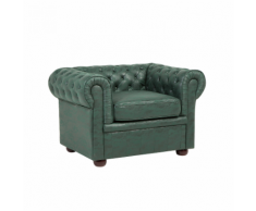 Poltrona vintage in tessuto similpelle verde CHESTERFIELD