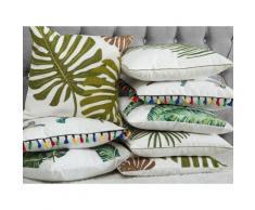 Cuscino decorativo in cottone motivo foglia di palma 45 x 45 cm verde