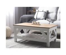 Tavolino da caffè in colore bianco e marrone 100 x 60 cm SAVANNAH