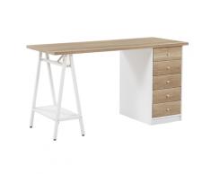 Scrivania color legno chiaro / bianco con 5 cassetti 140 x 60 cm HEBER