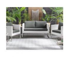 Set lounge da giardino a 3 pezzi bianco e grigio CREMA