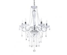 Lampadario in cristallo, color argento - LOCONE