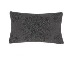 Cuscino decorativo in cotone 30 x 50 cm grigio scuro VELOOR