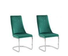 Set di 2 sedie da pranzo in velluto verde ALTOONA