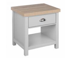 Comodino grigio/legno naturale CLIO
