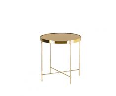 Tavolino laterale in vetro marrone e dorato 40cm diametro LUCEA