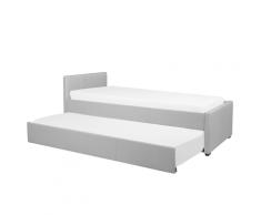 Letto singolo con letto estraibile in tessuto grigio chiaro 90x200 cm MARMANDE