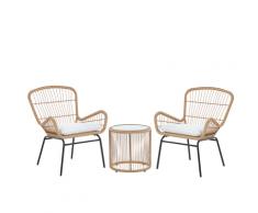 Set da balcone in rattan marrone chiaro 2 sedie con cuscini grigio chiaro LABICO
