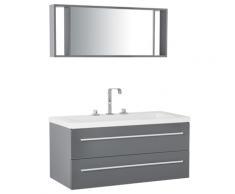 Mobiletto Lavabo Grigio e Argento a 2 Cassetti con Specchio Moderno ALMERIA