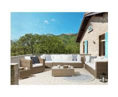 Set lounge in rattan marrone chiaro a 8 posti cuscini bianco crema MAESTRO II