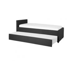 Letto singolo con letto estraibile in tessuto grigio scuro 90x200 cm MARMANDE