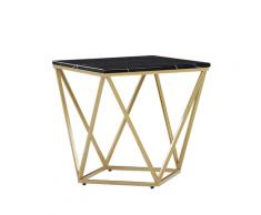 Tavolino da Caffè effetto Marmo Nero e Oro MALIBU