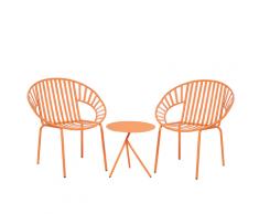 Set da balcone in metallo arancione tavolo e 2 sedie LICATA