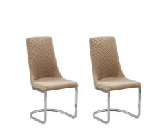Set di 2 sedie da pranzo in velluto beige ALTOONA