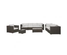 Lounge set con 8 posti a sedere di rattan sintetico taupé/crema MAESTRO II