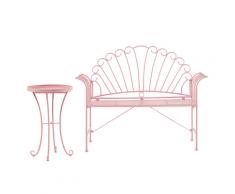 Set da balcone in metallo rosa panchina e tavolino CAVINIA