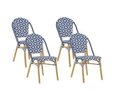 Set 4 Sedie da Giardino in Rattan Bianco e Blu RIFREDDO