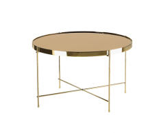Tavolino in vetro marrone e dorato 63cm diametro LUCEA