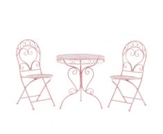 Set balcone in metallo rosa tavolo e 2 sedie ALBINIA
