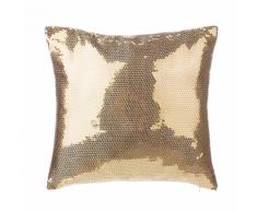 Cuscino decorativo a paillettes 45 x 45 cm oro