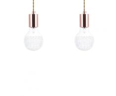 Set di 2 lampade a sospensione in vetro trasparente e color rame ANZA