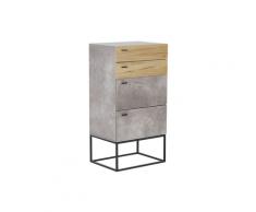 Credenza a 4 cassetti ad effetto cemento e legno chiaro ACRA