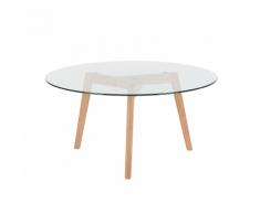 Tavolino da caffè in vetro con gambe in legno - MINNESOTA