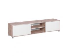 Mobile TV in colore bianco e legno chiaro LINCOLN