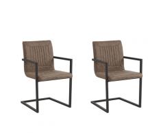 Set di 2 sedie da pranzo in ecopelle marrone BRANDOL