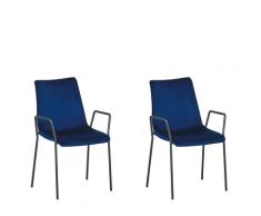 Set di 2 sedie da pranzo in velluto blu JEFFERSON