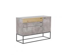 Credenza a 3 cassetti in legno chiaro e grigio ARIETTA