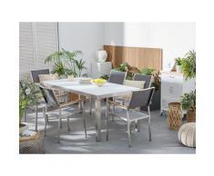 Set tavolo e sedie da giardino - In vetro temperato bianco e fibra tessile grigia - tavolo 180 con 6 sedie - GROSSETO