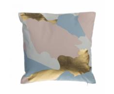 Cuscino decorativo in cotone a macchie 45 x 45 cm rosa/oro
