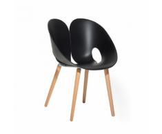 Sedia da pranzo in plastica nera con gambe in legno MEMPHIS