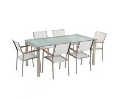 Set da giardino a 6 posti in vetro 180cm con sedie bianche GROSSETO