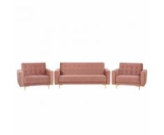 Set da soggiorno in velluto rosa ABERDEEN