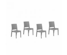 Sedia da giardino in rattan-grigio chiaro set di 4 pz FOSSANO