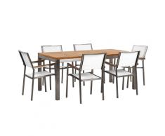 Set da giardino tavolo in teak e 6 sedie bianche GROSSETO