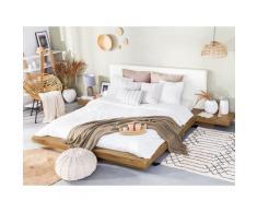 Letto in stile giapponese color legno chiaro 160 x 200 cm ZEN