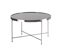 Tavolino in vetro nero e argento 63cm diametro LUCEA