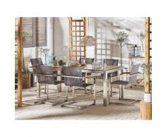 Set tavolo da giardino effetto legno 180 cm e 6 sedie fibre sintetiche grigio GROSSETO