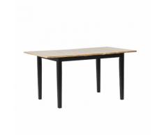 Tavolo da pranzo allungabile in legno chiaro e nero 120/150 x 80 cm HOUSTON