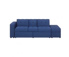 Divano letto blu con cassetti e ottomano contenitore FALSTER